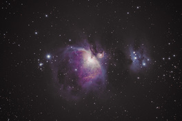 Orion-köd (M42–M43, NGC 1976); Running Man (NGC 1977)