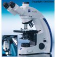 Zeiss PrimoStar microscope with 3 Plan-achromat and 1 phase contrast objectives
